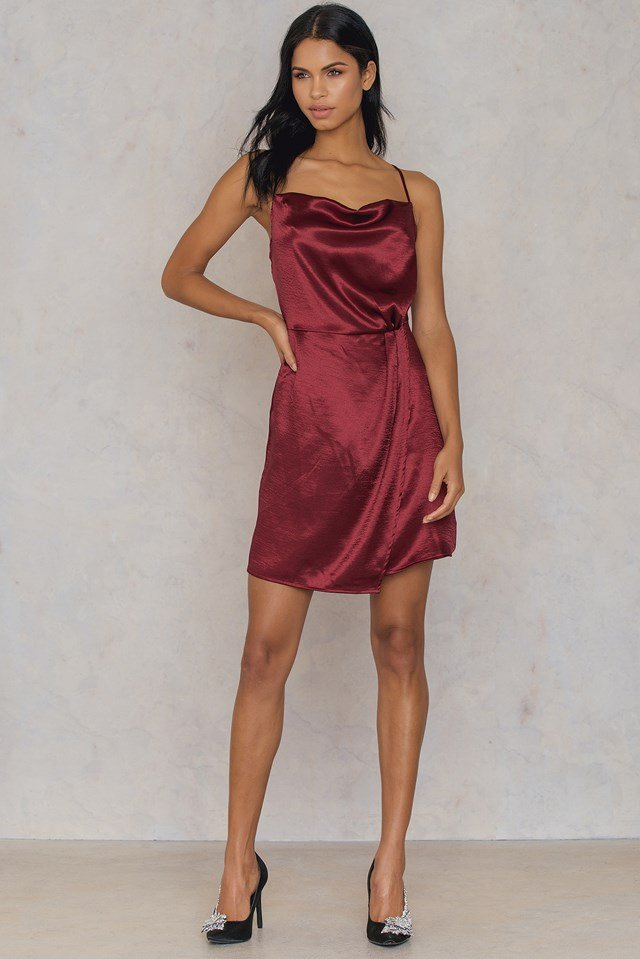 Metallic Cowl Neck Dress Dark Red
