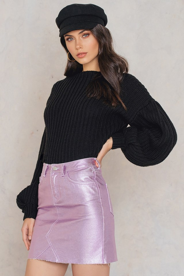 Metallic Denim Skirt Pink