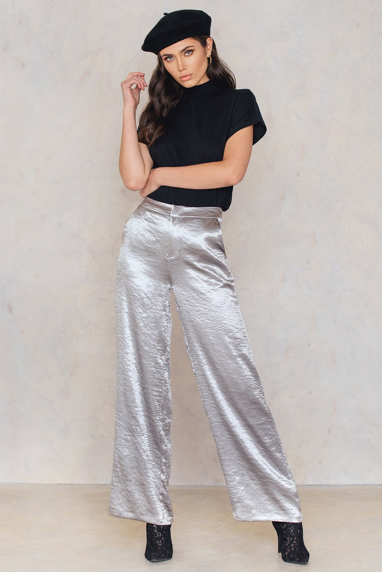 na-kd party -  Metallic Flared Pants - Silver