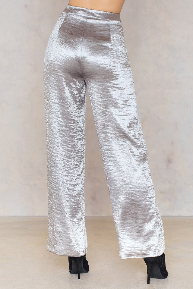 Metallic Flared Pants Silver