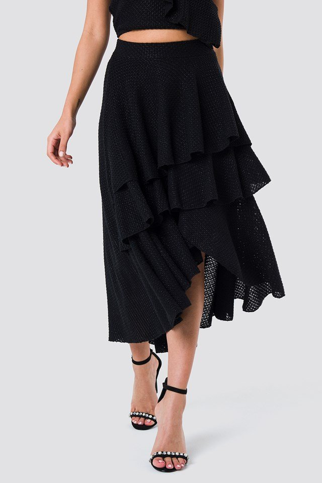 Metallic Flounce Skirt Black