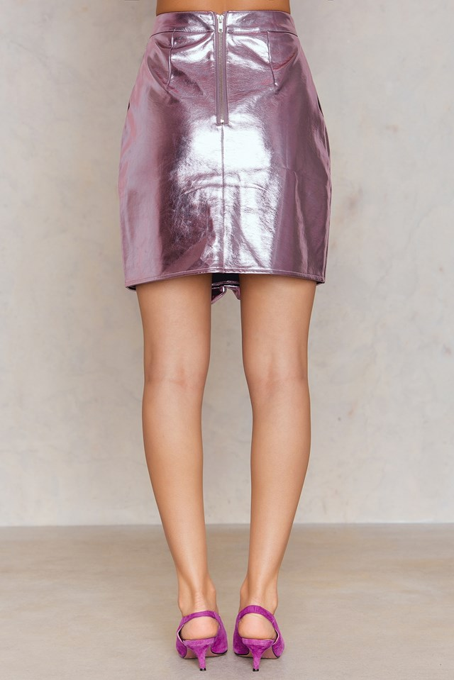Metallic Frill Skirt Pink