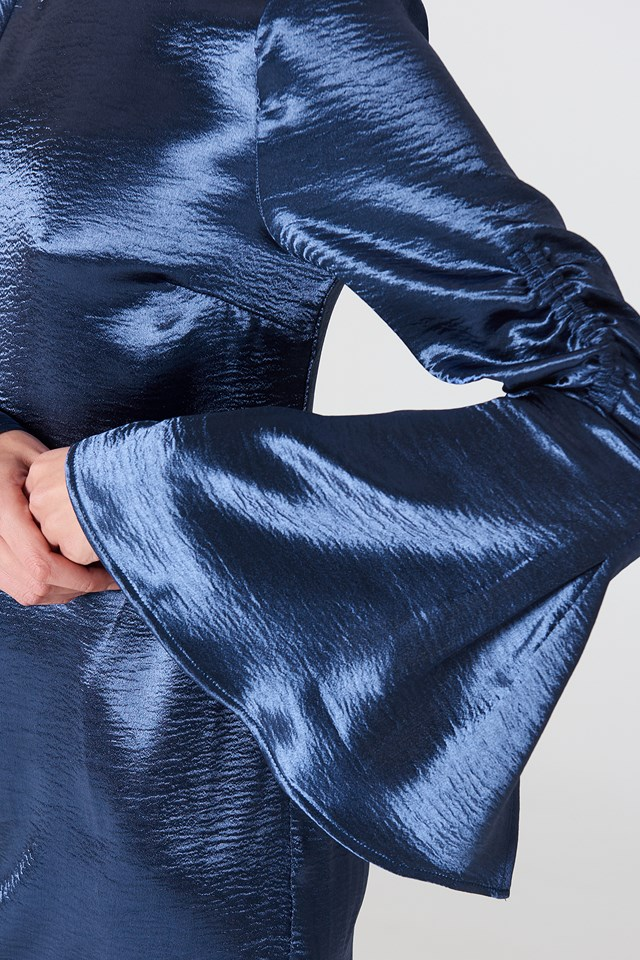 Metallic Gathered Sleeve Mini Dress Dark Blue