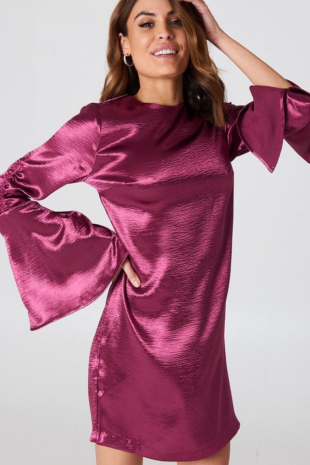 Metallic Gathered Sleeve Mini Dress Burgundy