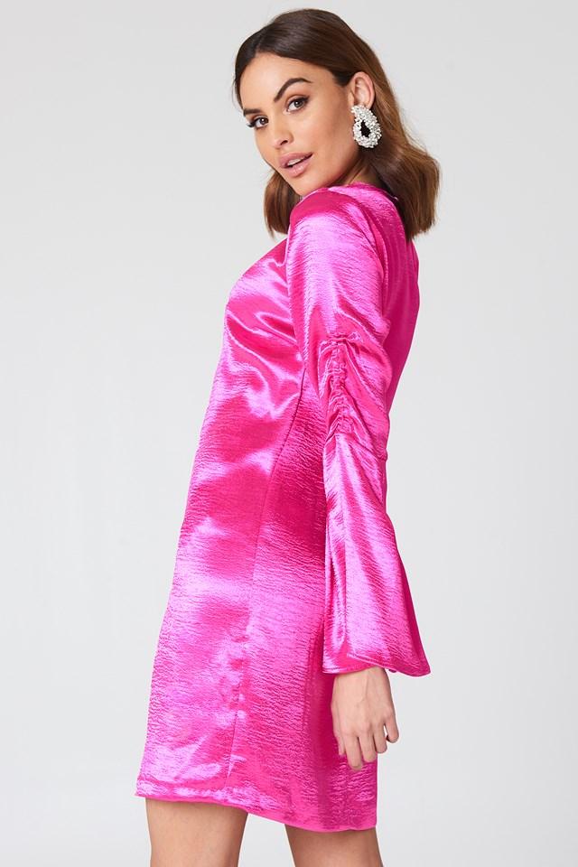 Metallic Gathered Sleeve Mini Dress Fuchsia