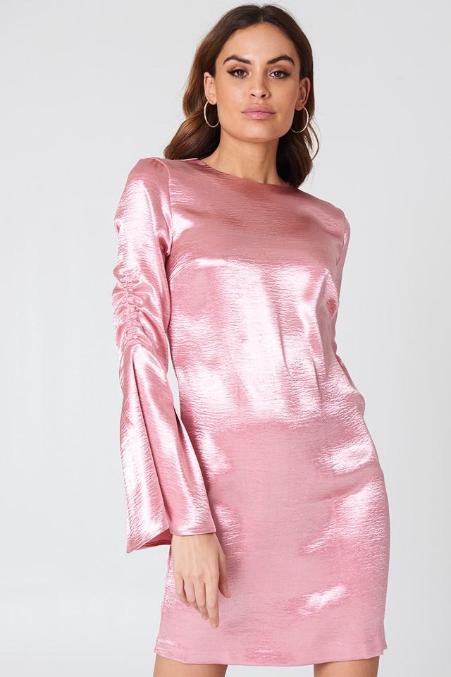 Metallic Gathered Sleeve Mini Dress Ballet Pink