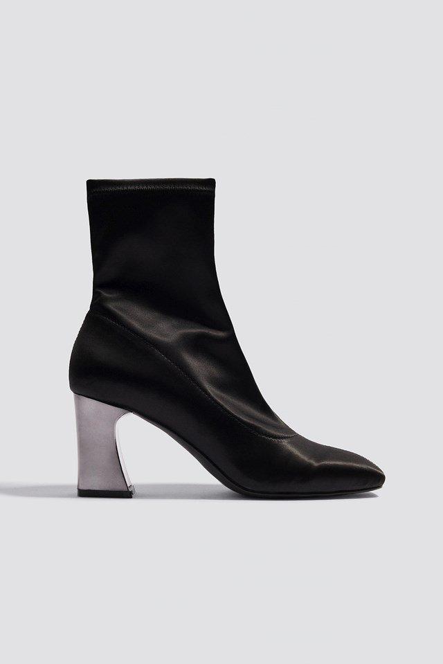 Metallic Heel Satin Boots NA-KD Shoes