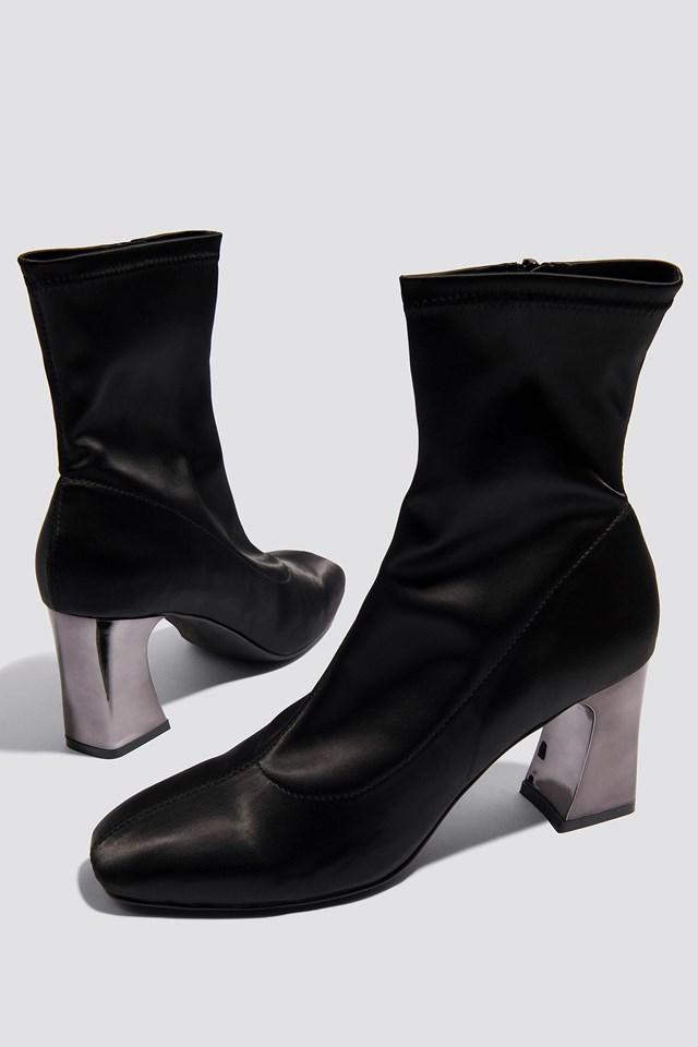 Metallic Heel Satin Boots Black