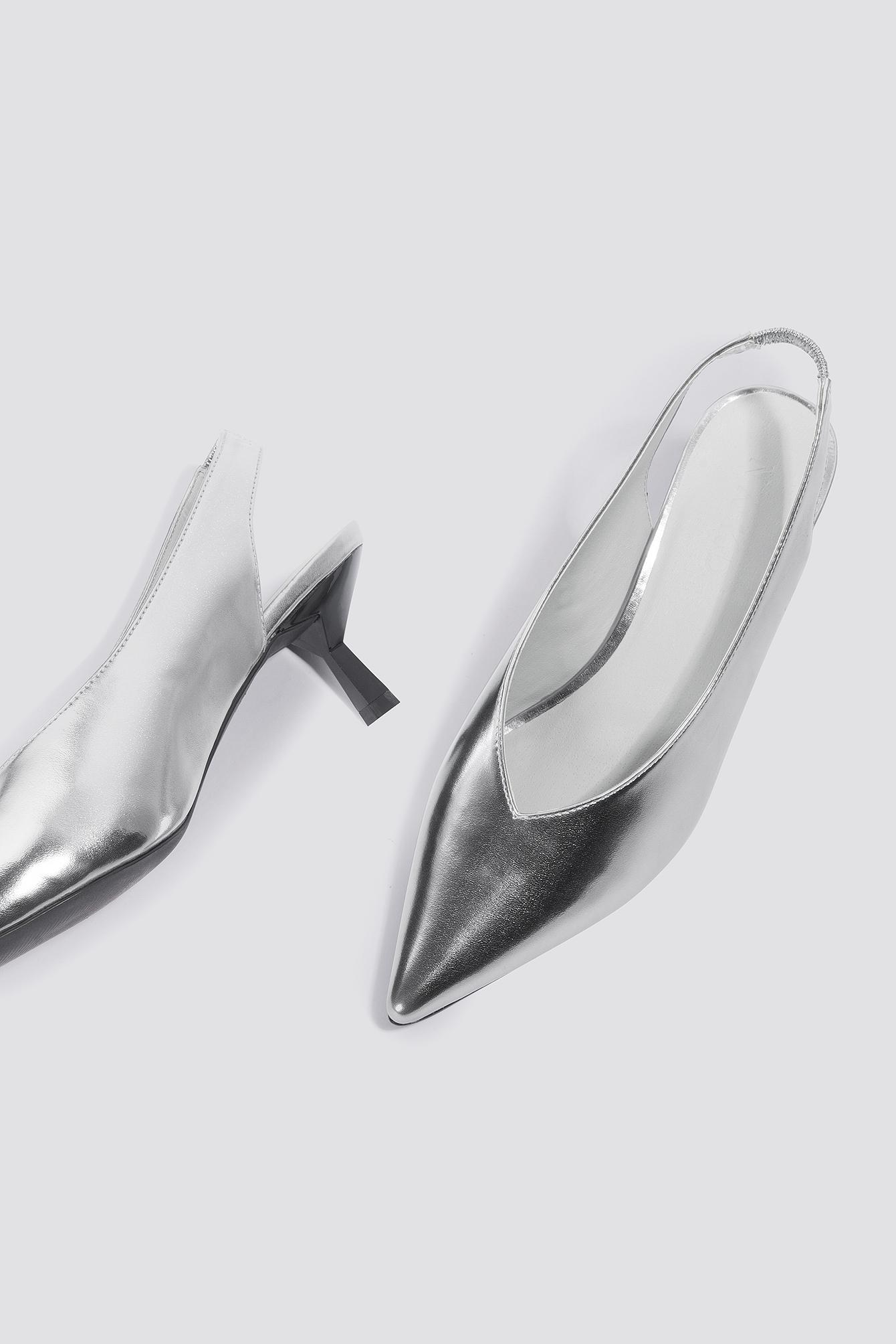 Metallic Kitten Heel Pumps Silver