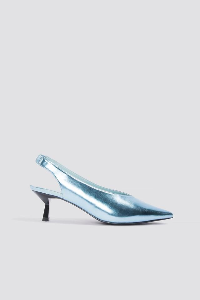 Metallic Kitten Heel Pumps Ice Blue