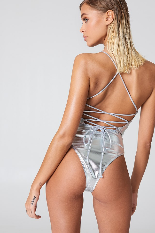 Metallic Lacing Back Swimsuit Silver
