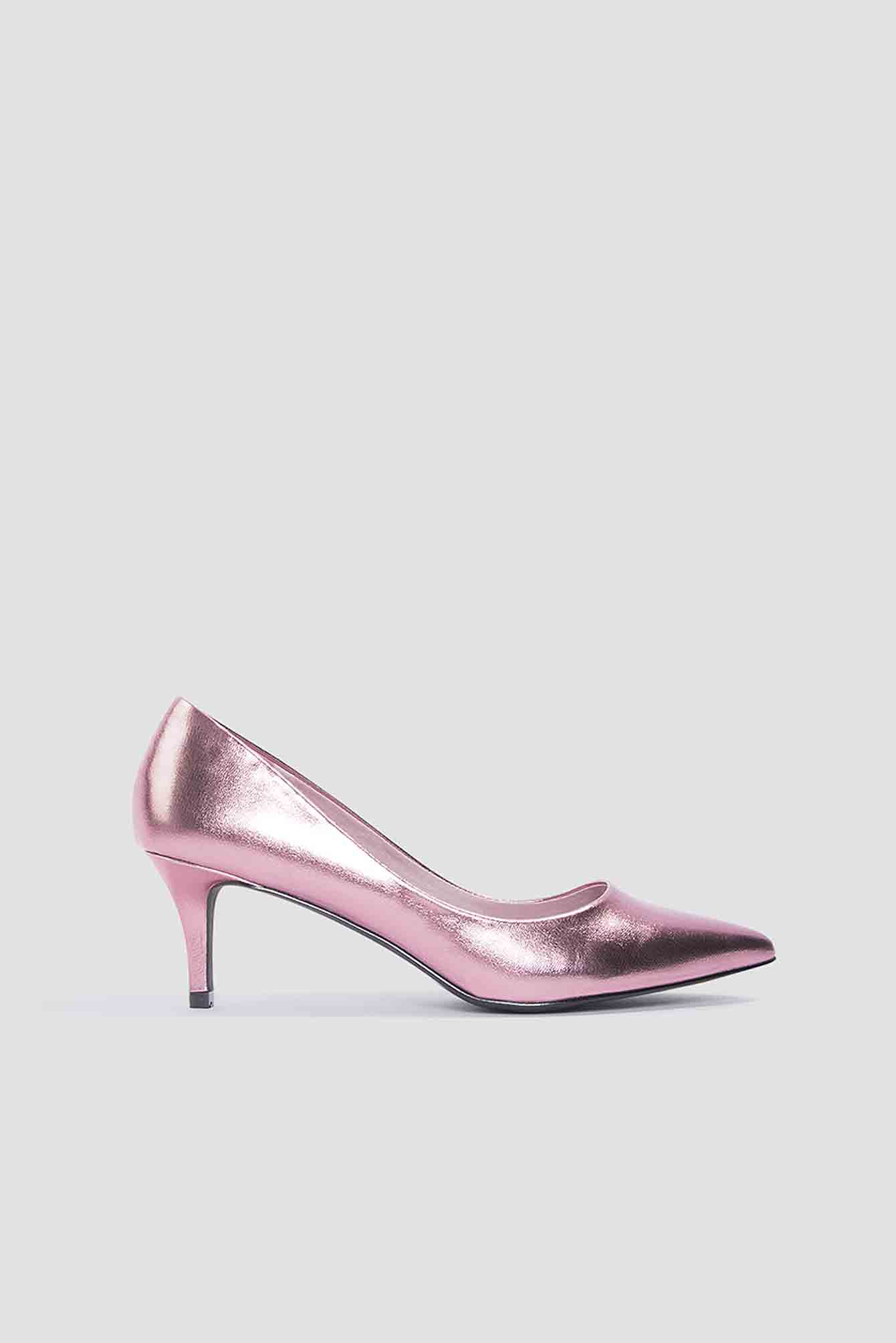 Pink Metallic Mid Heel Pumps