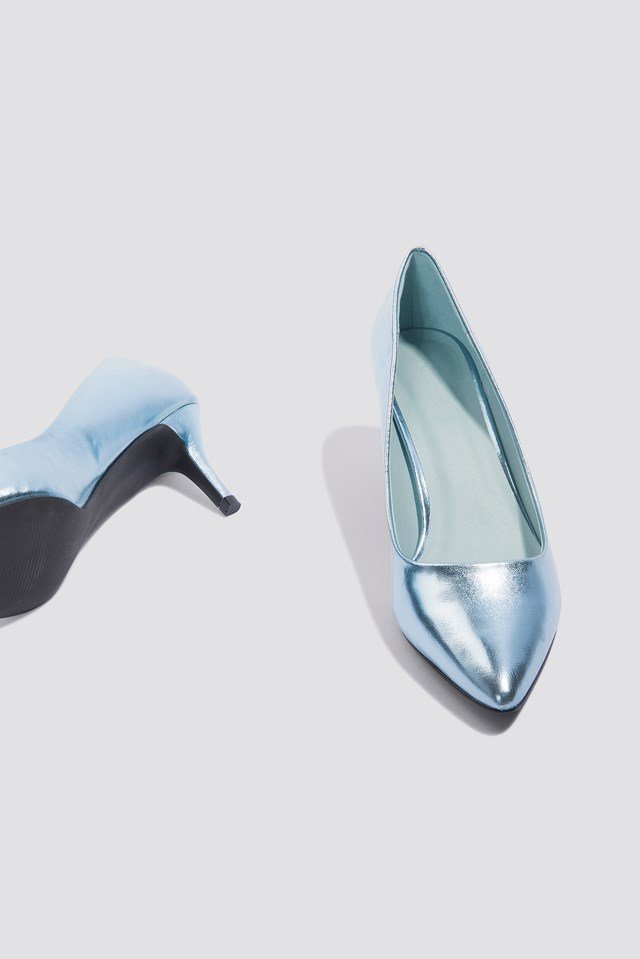 Metallic Mid Heel Pumps Ice Blue