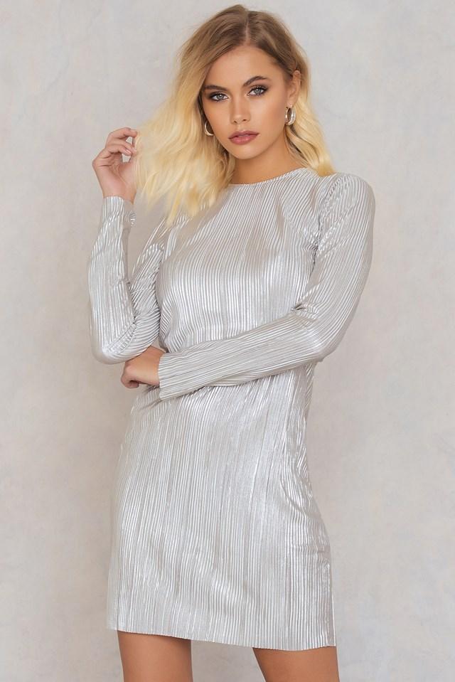 Metallic Pleated Dress NA-KD.COM