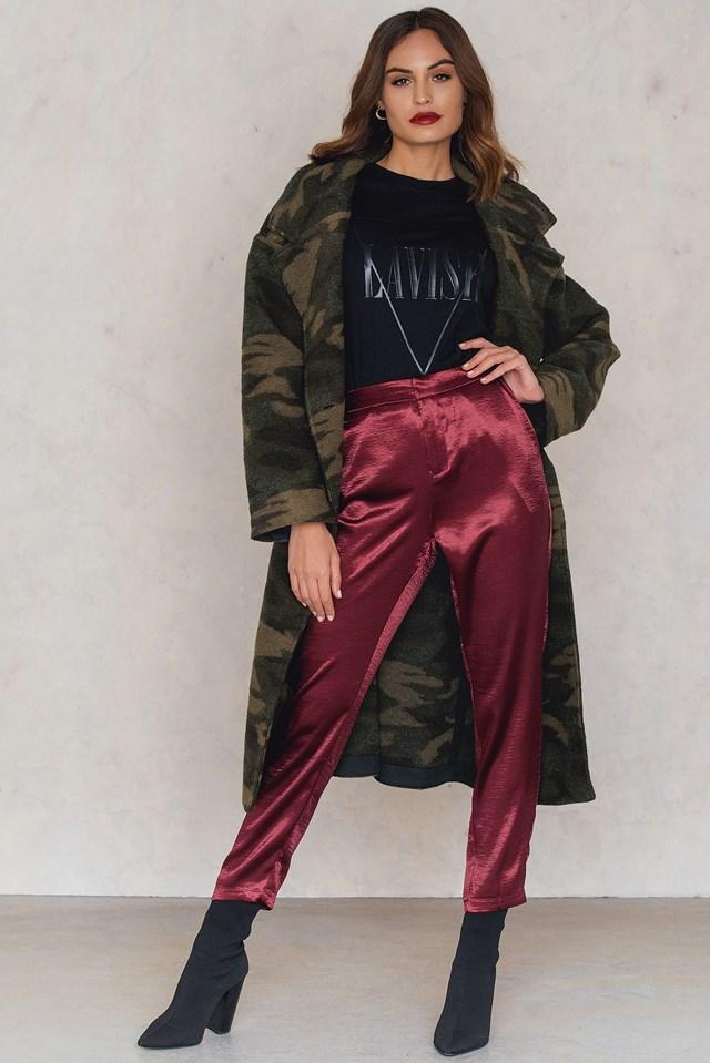 Metallic Straight Pants Dark Red