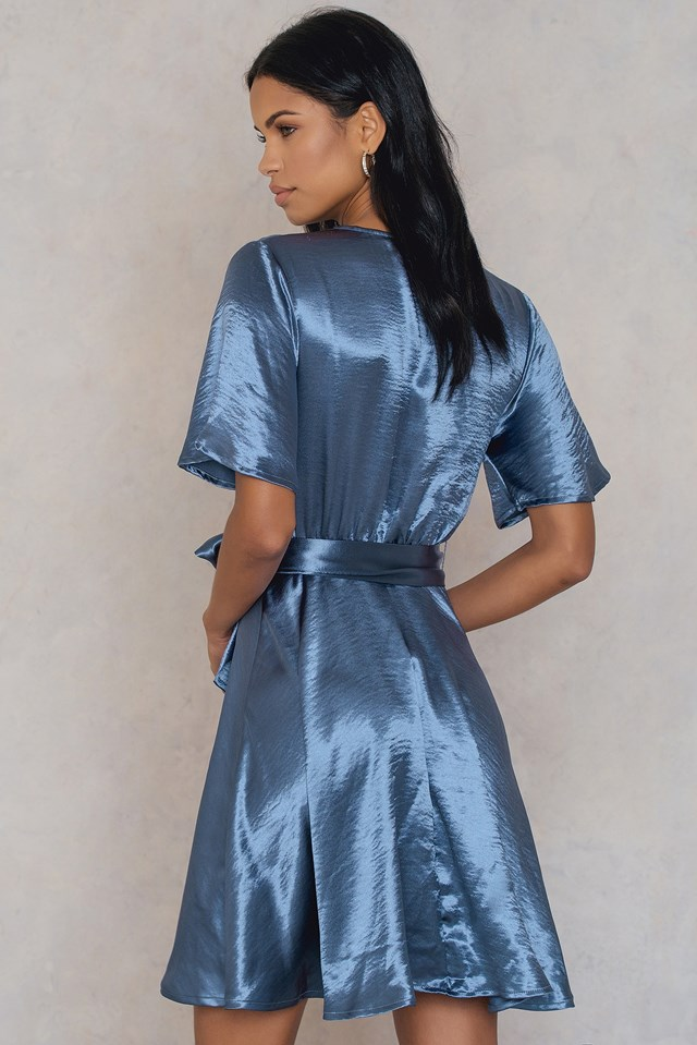 Metallic Wrap Over Dress NA-KD.COM