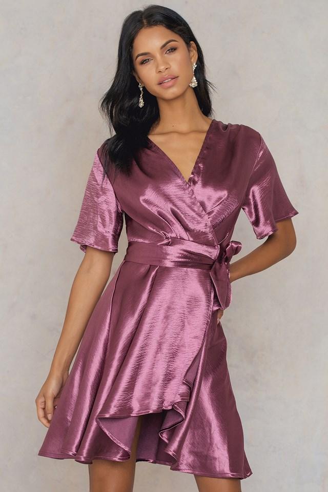 Metallic Wrap Over Dress Dusty Purple