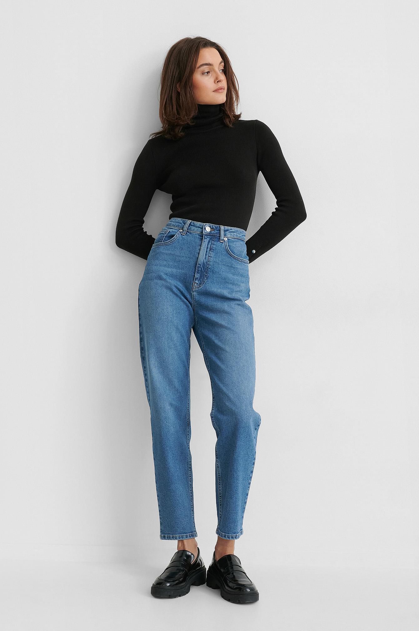 Gine Margrethe x NA-KD Ekologiska Mom-jeans - Blue