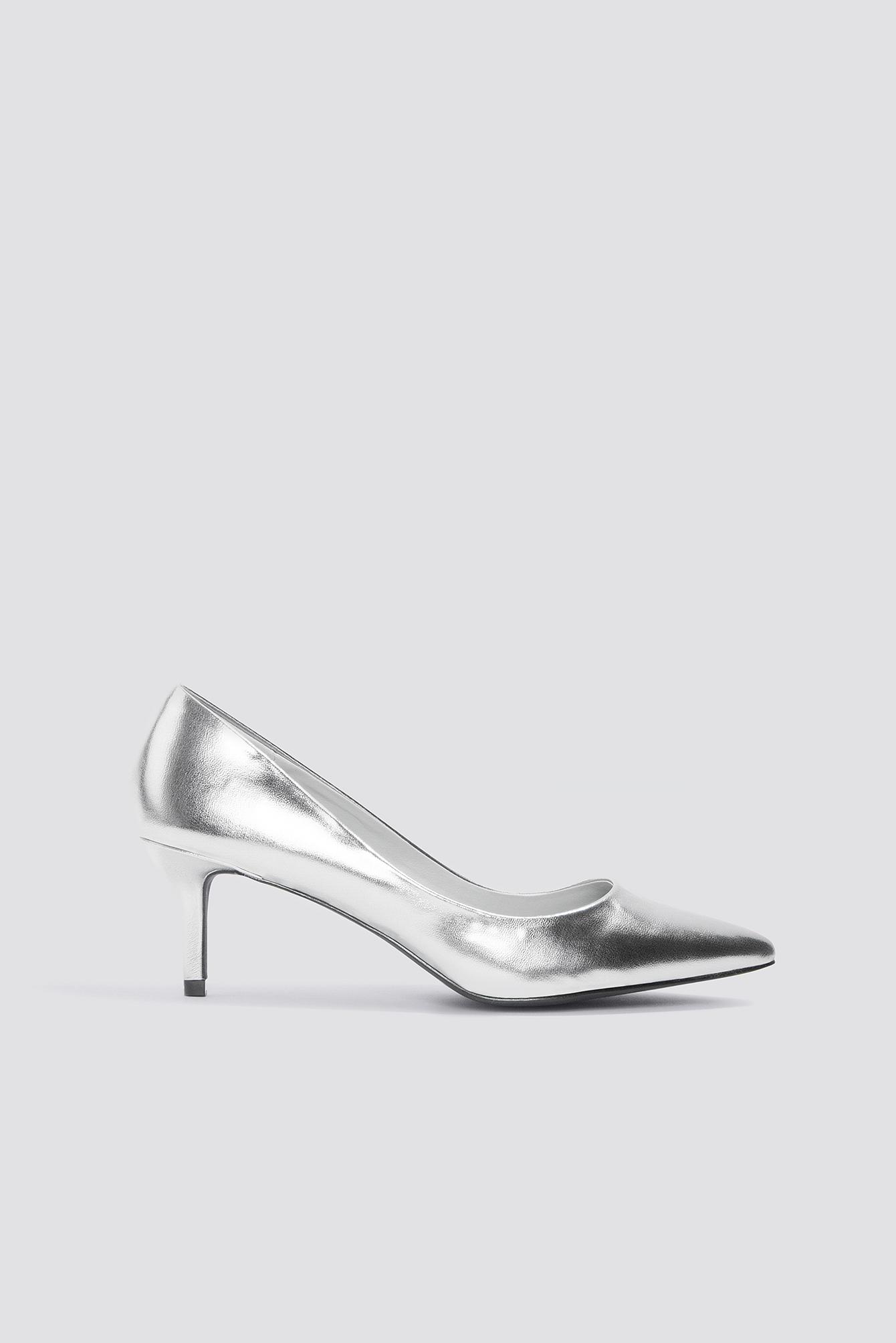 na-kd shoes -  Metallic Mid Heel Pumps - Silver