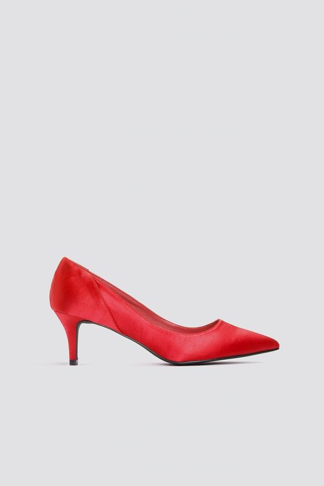 Mid Heel Satin Pumps Red