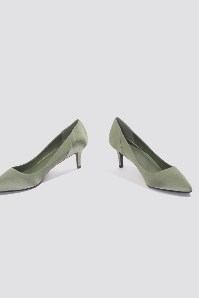 Mid Heel Satin Pumps Dusty Green
