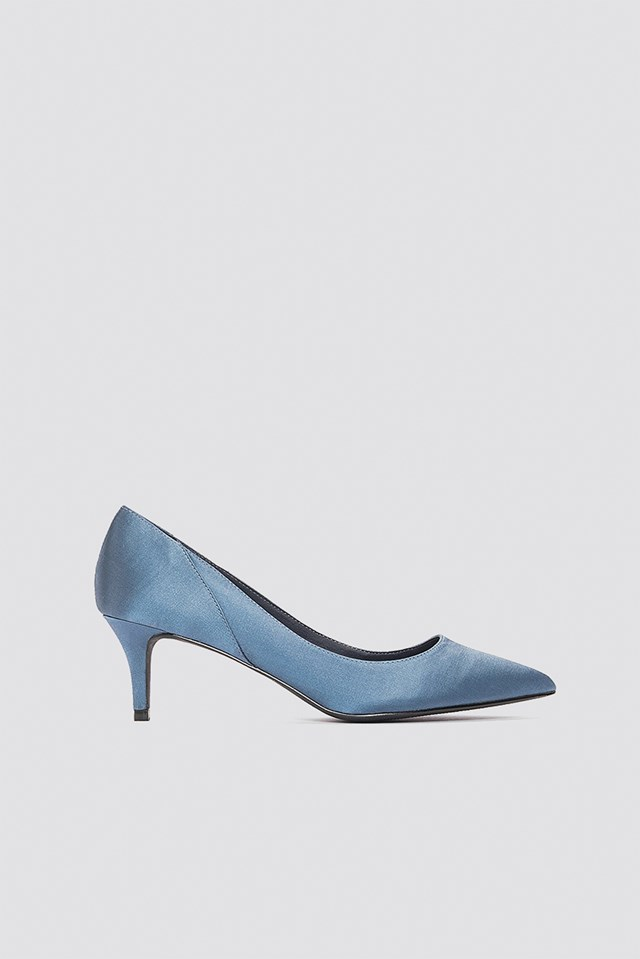 Mid Heel Satin Pumps Blue Stone