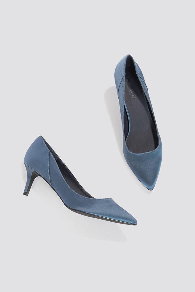 Mid Heel Satin Pumps Blue Stone