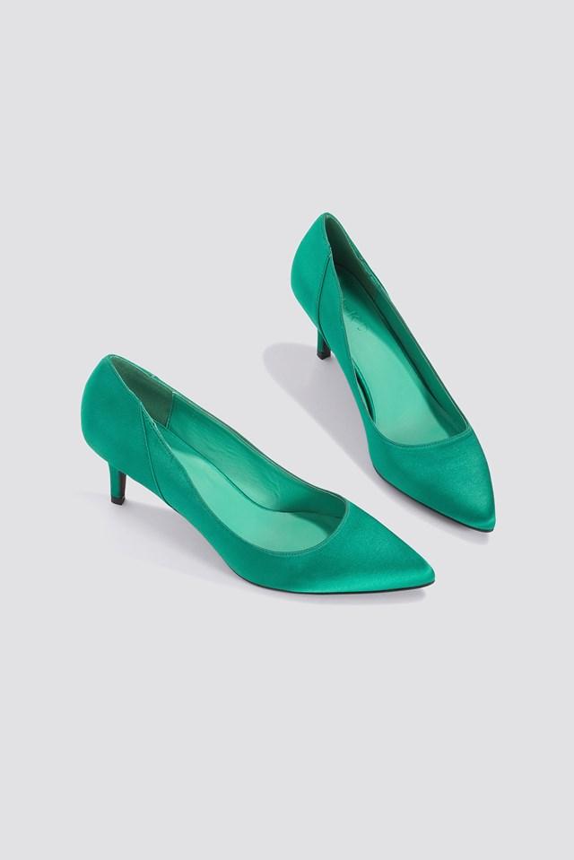 Mid Heel Satin Pumps Basil green
