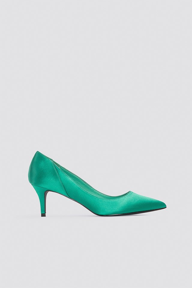 Mid Heel Satin Pumps Basil green