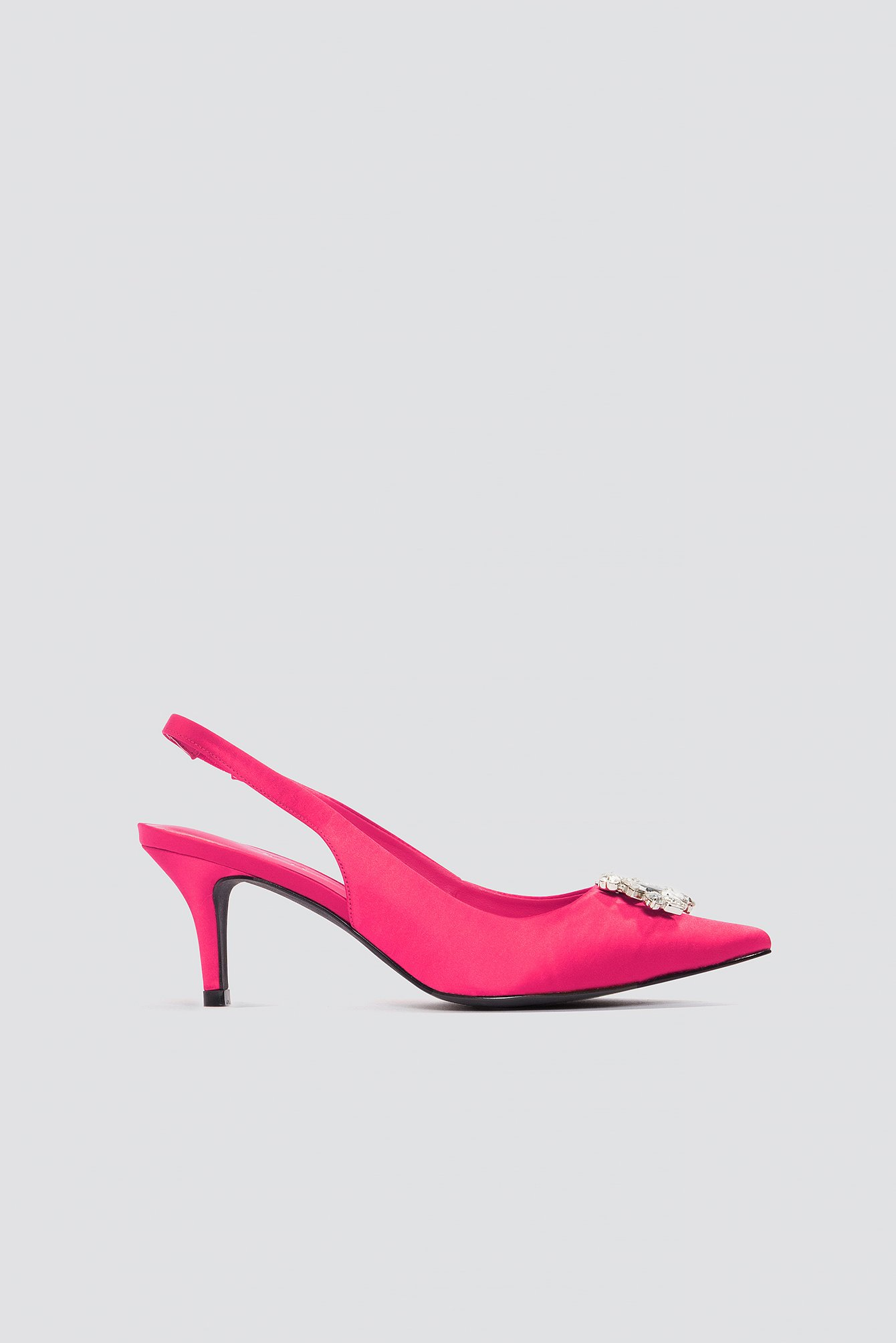 Magenta Light Embellished Kitten Heel Pumps