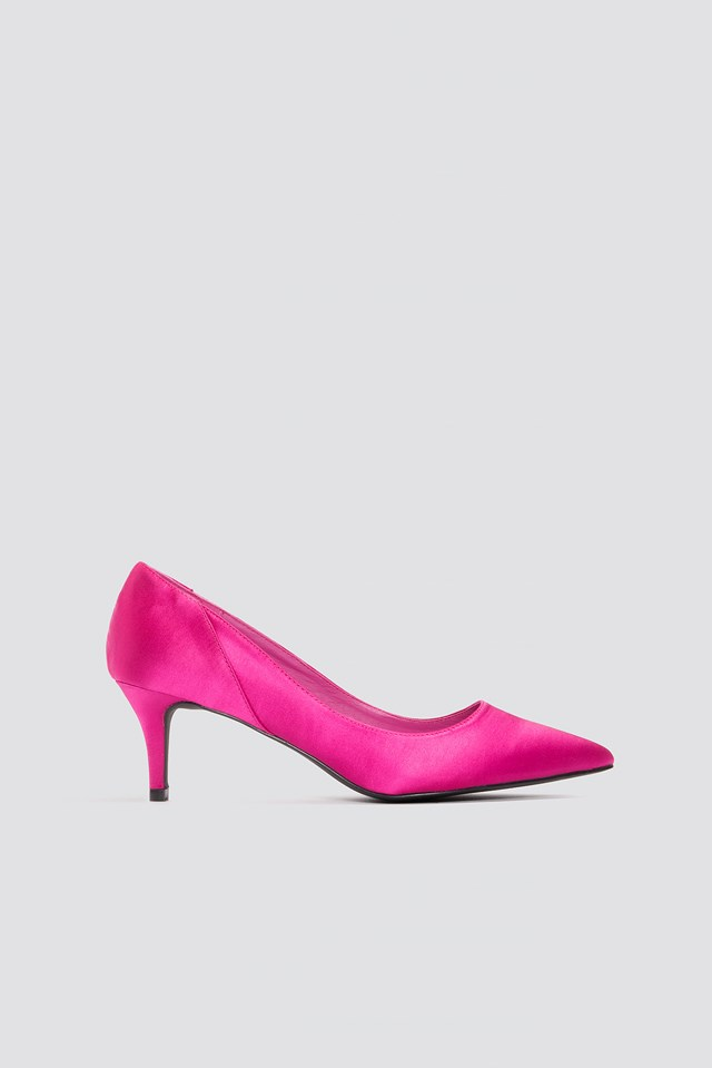 Mid Heel Satin Pumps Magenta