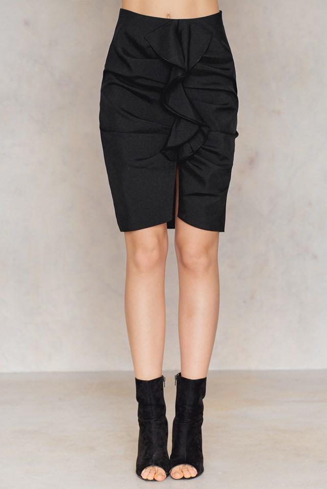 Mid Length Frill Skirt Black