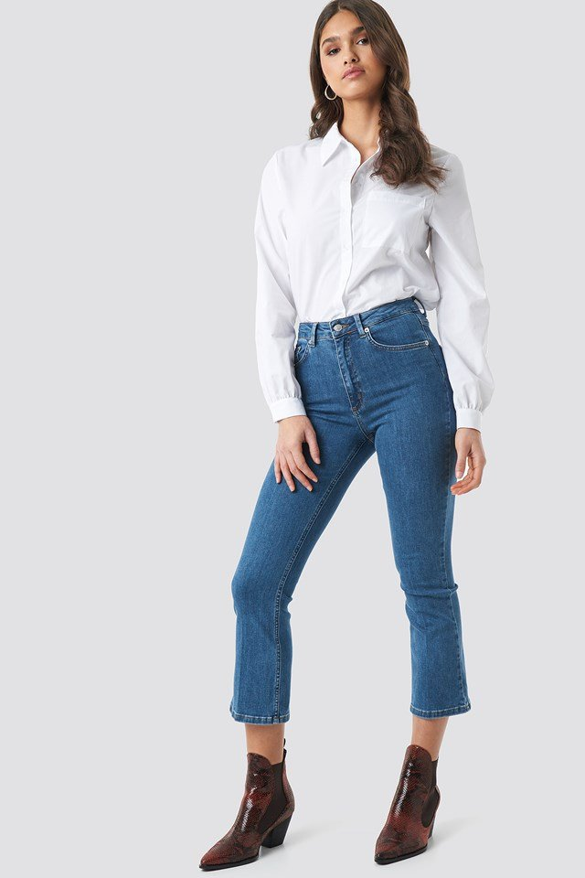 Mid Rise Cropped Flared Jeans NA-KD Trend