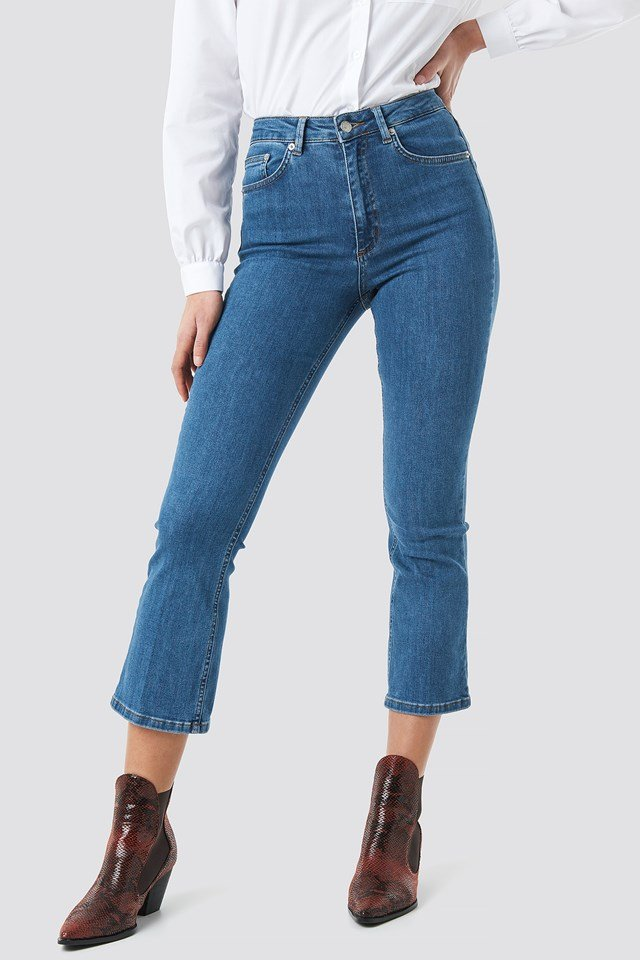 Mid Rise Cropped Flared Jeans Mid Blue