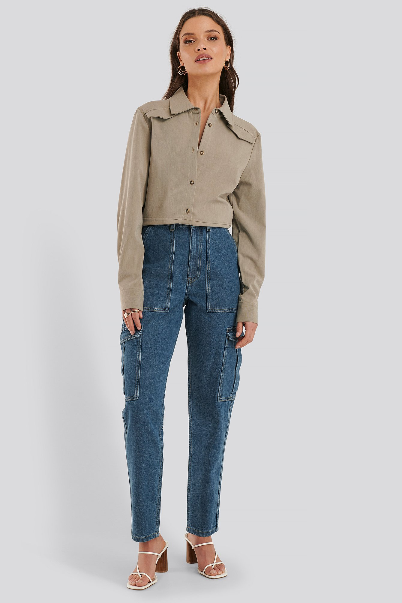 NA-KD Mid Rise Jeans - Blue