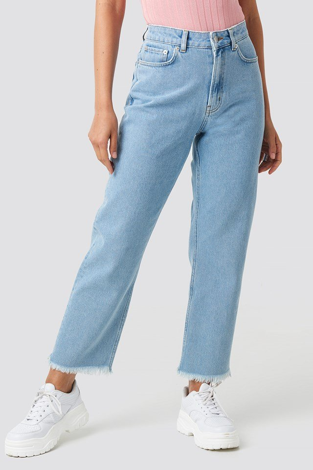 Mid Rise Straight Jeans Light Blue