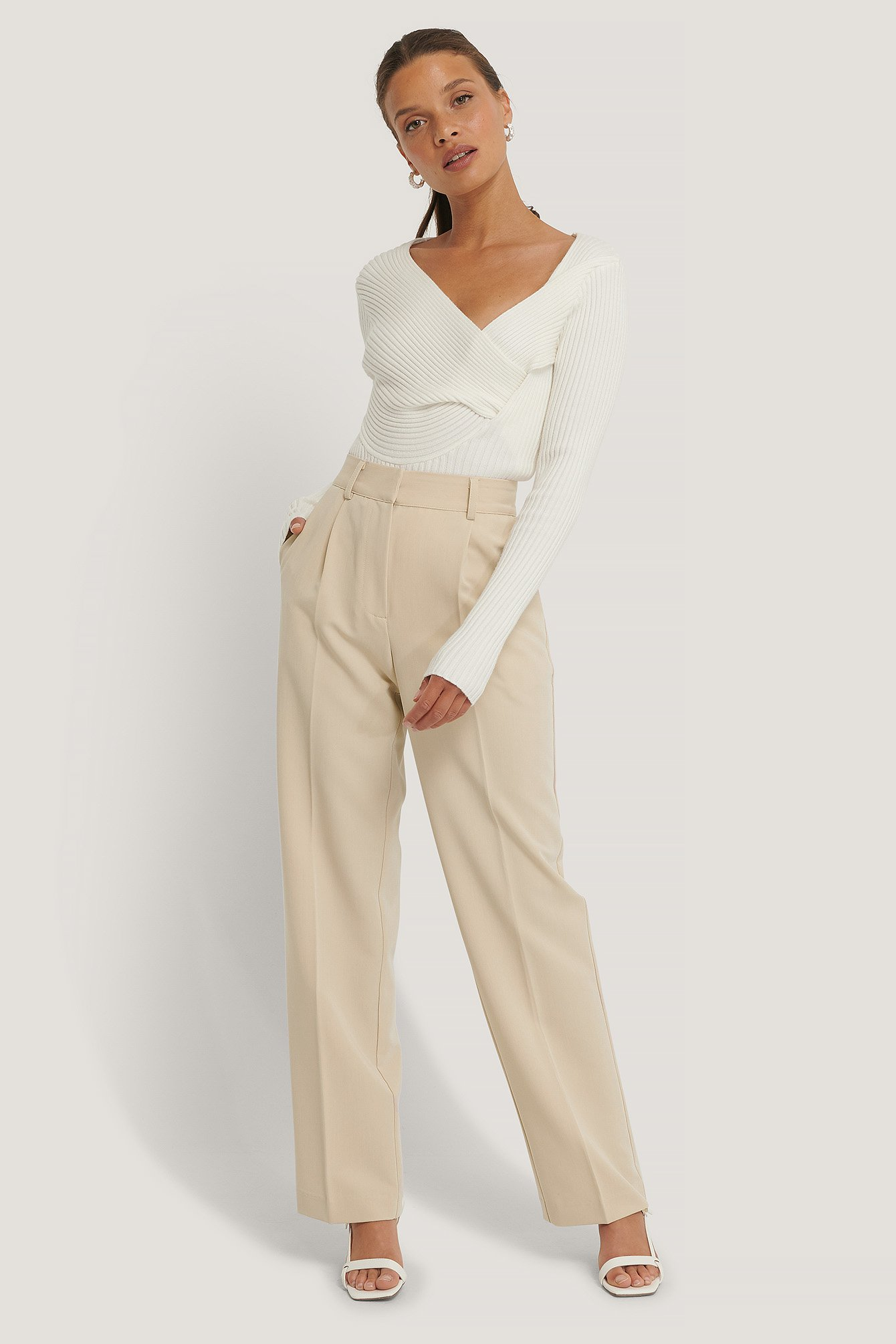 Beige Mid Rise Suit Pants