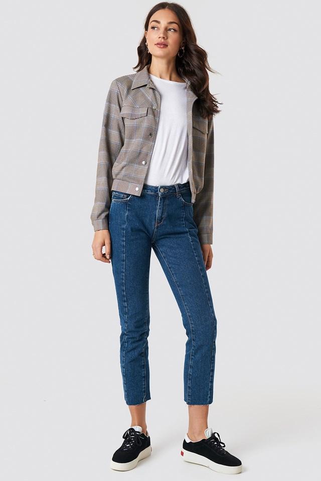 Jeansy z panelowymi wstawkami i średnim stanem Dark Blue