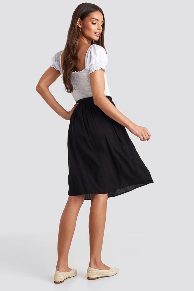 Midi Button Front Skirt Black