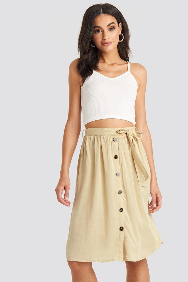 Midi Button Front Skirt Light Beige