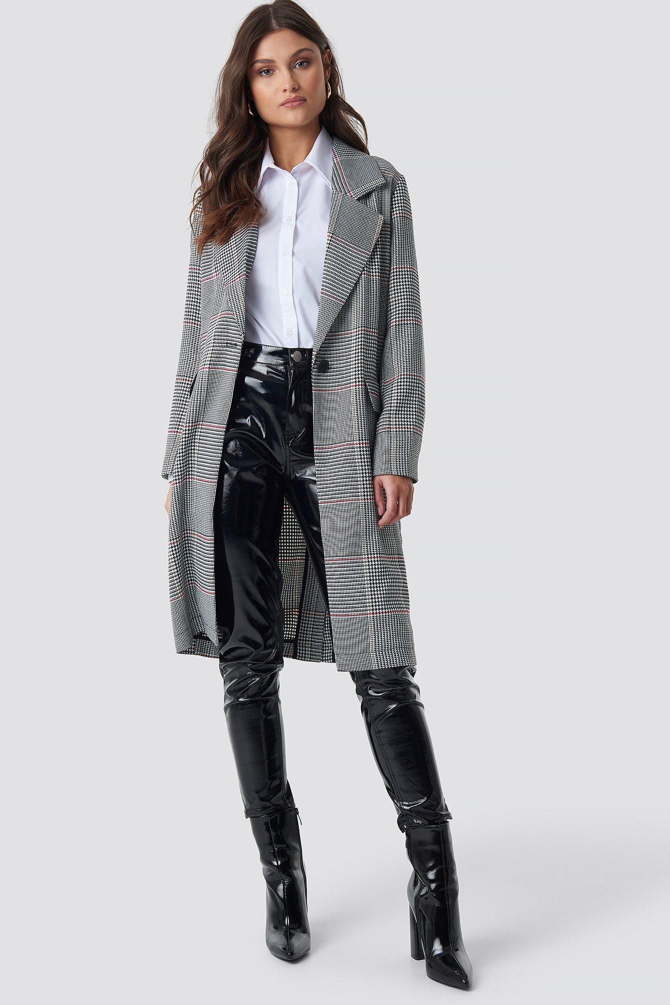 Checked Midi Checked Coat