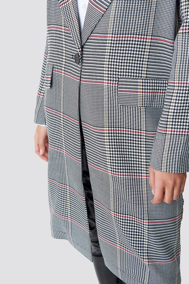 Midi Checked Coat Checked