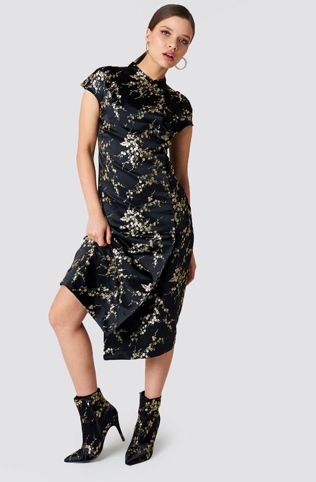 Midi Cheongsam Dress Black