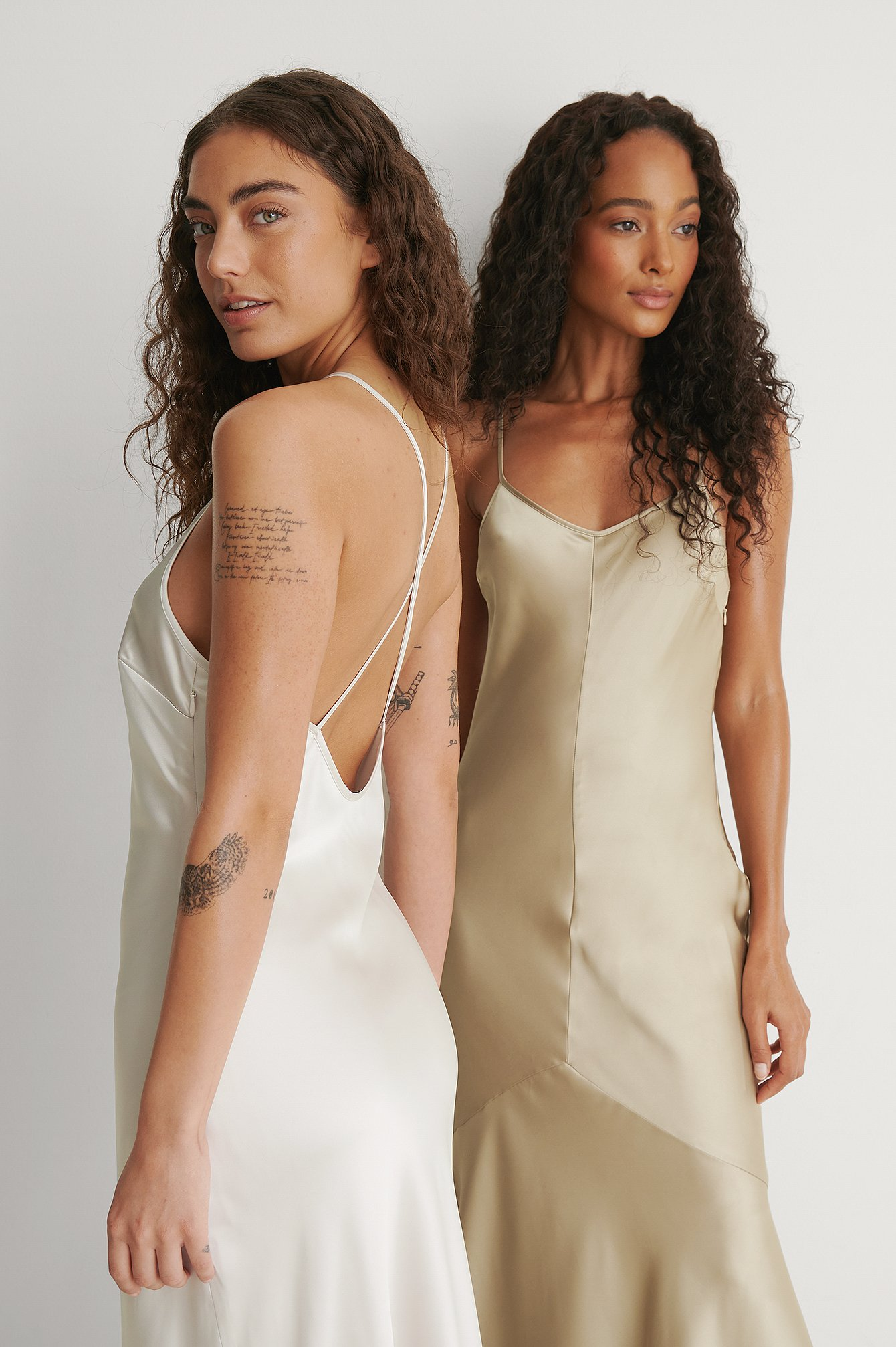Cream Recycled Midi High Neck Satin Dress