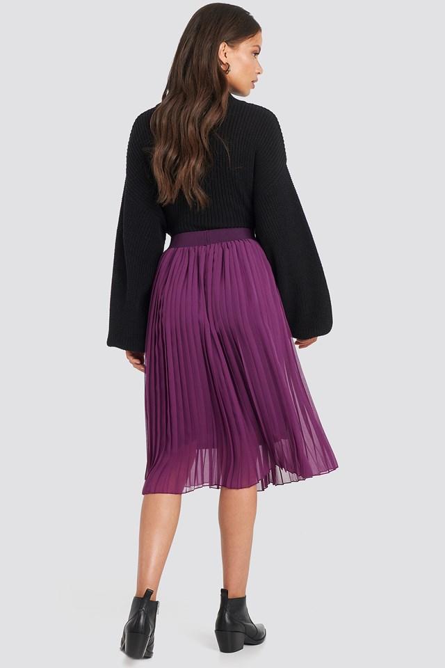 Midi Pleated Skirt Grape