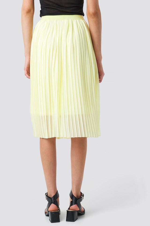 Midi Pleated Skirt Pale Yellow