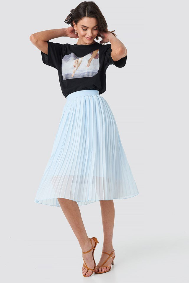 Midi Pleated Skirt Pale Blue
