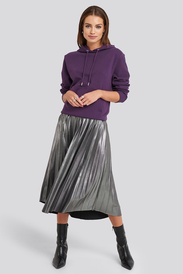 Midi Pleated Skirt Silver