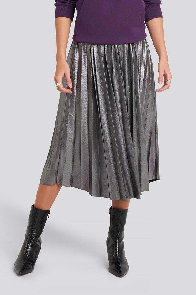 Midi Pleated Skirt Silver