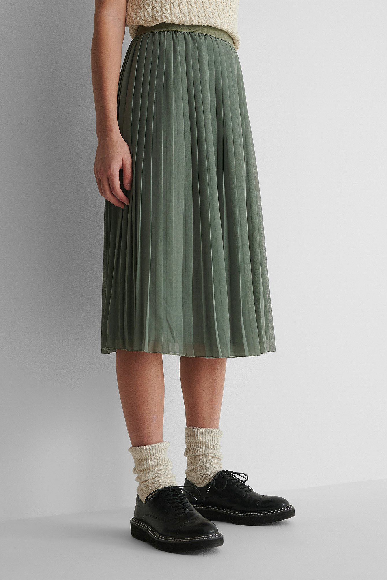 Khaki Midi Pleated Skirt